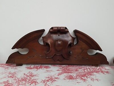 Striking Large Antique French Carved Walnut Crest -  C1900