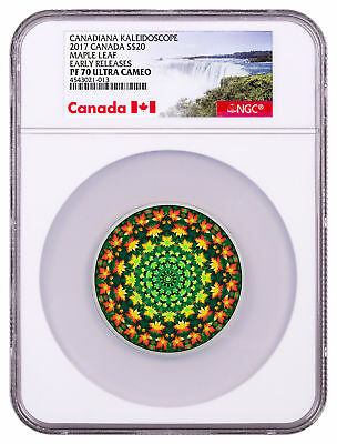 2017 Canada Kaleidoscope Maple Leaf 1oz Colorized Silver NGC PF70 UC ER