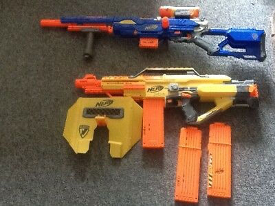 Nerf gun bundle, includes the long strike cs6 and the stampede ecs