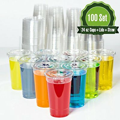 Crystal Clear Disposable Plastic Cups with Flat Lids and Straws for 24 oz Cold