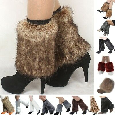 Uk White/Black/Brown/Coffee/Grey Fluffies Fluffy Legwarmers Boots Covers Furrys