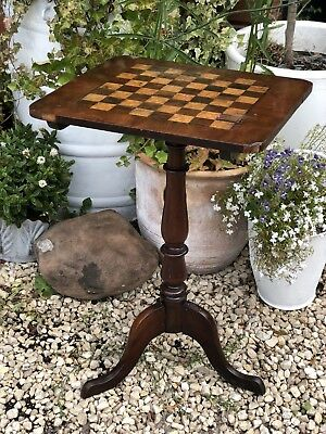 Good Quality Antique 19Th Century Mahogany & Inlaid Chess Table Country House