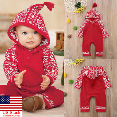 US Christmas Newborn Baby Girls Boys Hooded Snowflake Rompers Jumpsuits Outfits