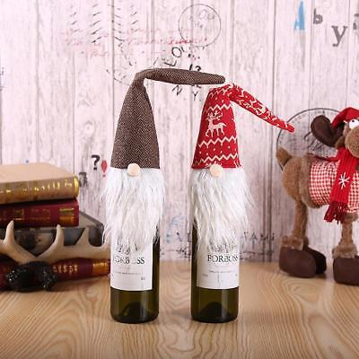 Red Christmas Gnome Tomte Santa Wine Bottle Bag Cover Dinner Party Table-Decor