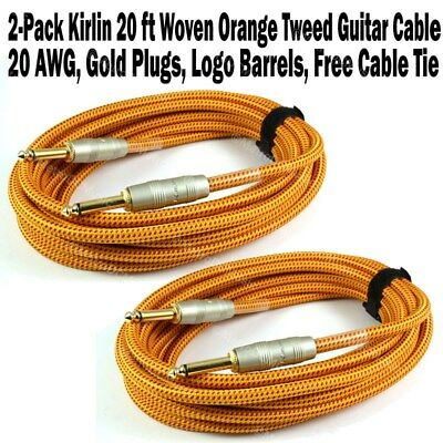 2-Pack Kirlin 20 ft Woven Guitar Instrument Cable Orange Tweed Cord +Free Tie