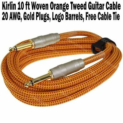 Kirlin 10 ft Woven Guitar Instrument Cable Orange Tweed Cord +Free Tie 20AWG NEW