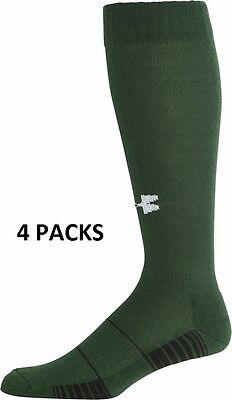 CLEARANCE: 4pack Under Armour Soccer Socks UA Over-The-CalfGreen Youth Large Boy