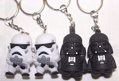 4PC x Star War Keychain Darth Vader Storm Trooper Action Minifigure Soft