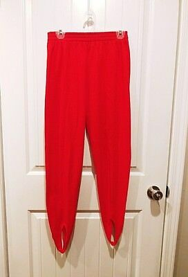Vintage 80's Westside Women's Red Fleece Stirrup Pants with Front Seam Size M