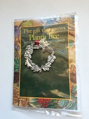 """Vintage Seagull Pewter Christmas Ornament,  """"Plant A Tree""""  Wreath"""
