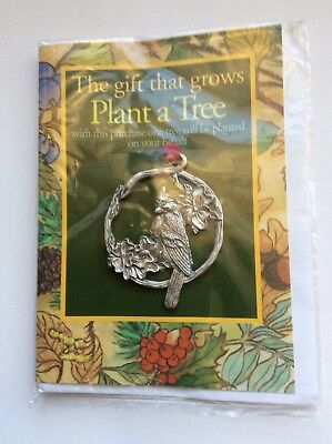 """Vintage Seagull Pewter Christmas Ornament,  """"Plant A Tree""""  Beautiful Bird"""