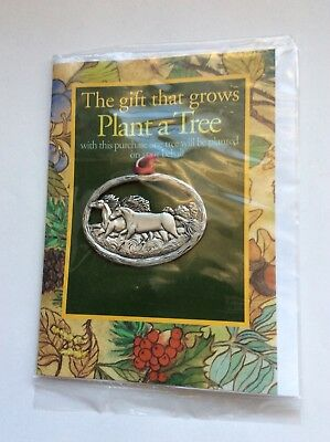 """Vintage Seagull Pewter Christmas Ornament,  """"Plant A Tree""""  Horses"""