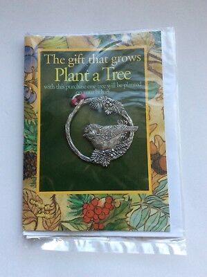 """Vintage Seagull Pewter Christmas Ornament,  """"Plant A Tree""""  Moose"""