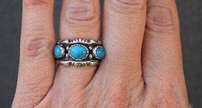 VINTAGE BAGUE NAVAJO ARGENT et TURQUOISE TAILLE 54 NATIVE AMERICAN STERLING RING