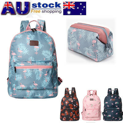Girl Womens Flamingo Cartoon Backpack Travel Rucksack Shoulder Bag School AU