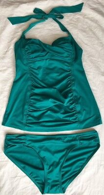 Pea In The Pod Maternity Swimsuit Tankini Size Large Preowned Turquoise Shirred