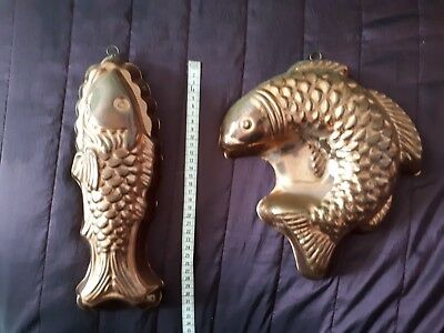 Pair of vintage copper fish moulds