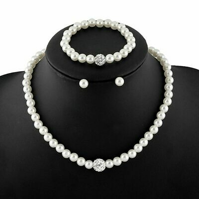 Ladies Women Wedding Bridal Fashion Pearl Bead Necklace Earring Bracelet Set UK