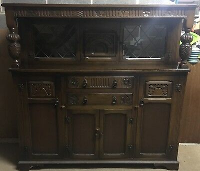 Dark Wood Old Vintage Buffet Sideboard Dresser