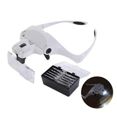 Eyelash Extension LED 5 Lens Headset Deluxe Magnifier Hand Magnifying Fre gtsw