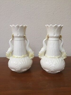 Vintage Belleek Ireland Fish handle Vase Porcelain Poseidon Shell Cream PAIR