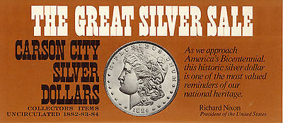 """""""the Great Silver Sale"""" Of Carson City, """"cc"""", Silver Dollars - Gsa Order Form"""