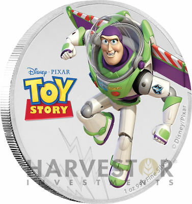Disney Pixar Toy Story Buzz Lightyear-1 Oz. Silver Coin Ogp & Coa