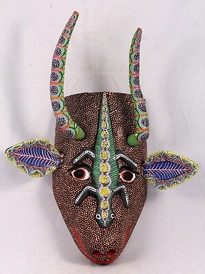 Mexican Wood Hanging Mask Folk Art Hand Made/Painted Collectible Decor Large #2