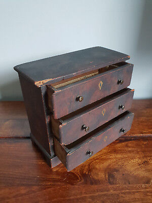 Antique 19th Century Victorian Miniature Chest of Three Drawers circa 1850-1870