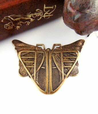 ANTIQUE BRASS Egyptian Art Deco BUTTERFLY SCARAB Stamping Oxidized (C-407)