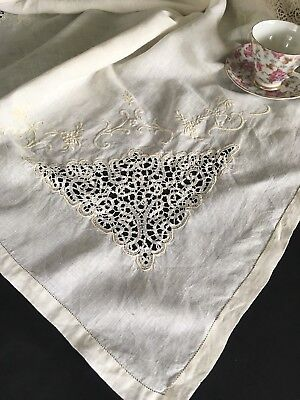 Vintage Antique Embroidered Linen & Lace Tablecloth
