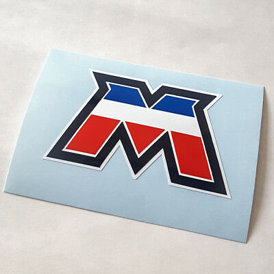 NEW Reproduction Motobecane seat post M decal multi color moped sticker French