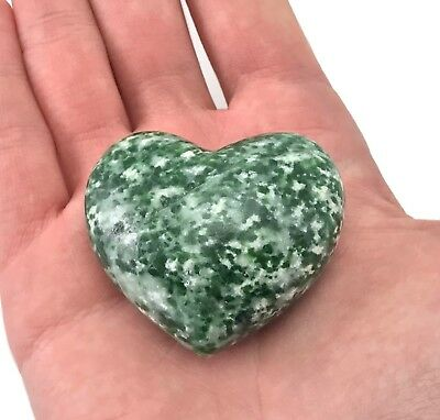 Puffy Heart Tree Agate Large Palm Sized Hand Carved Gemstone Stone Love Crystal