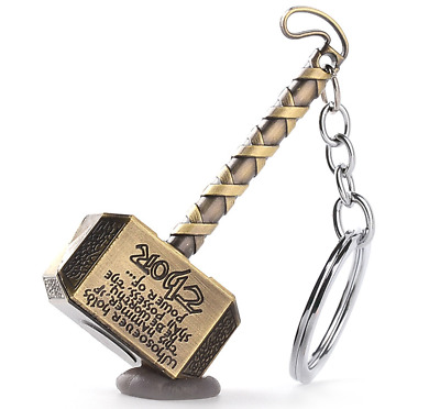 Fashion Marvel The Avengers Thor Thor's Hammer Metal Keyring Keychain gold