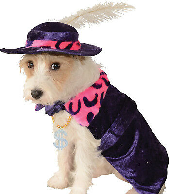 Mac Daddy Pimp Dog Costume  - S - Feather Hat - $ Necklace - Halloween -NWT