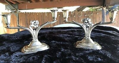 Vintage Pair of 1847 Rogers Brothers 9916 Silverplate Daffodil Candleholders