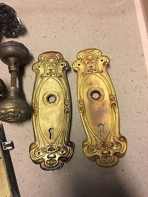 3 Sets Of Antique Brass Art Nouveau Door Knobs  And Back Plates For Your Home
