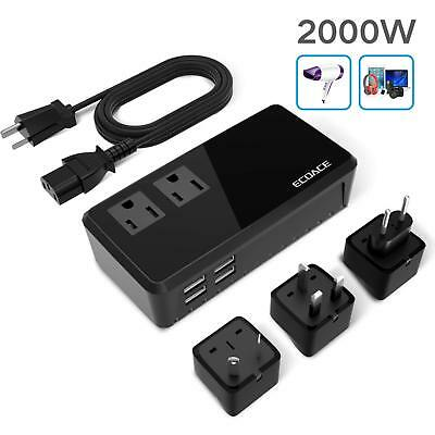 Mini 2000W Worldwide Travel Adapter Converter Set 220V to 110V for UK/AU/US/EU