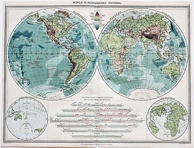 1907 World Map in Hemispheres United States Africa Asia Australia Heights Depths