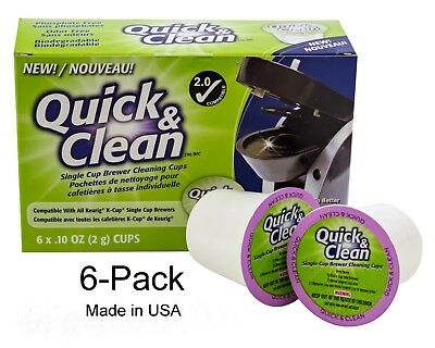 6-Pack of Cleaning Cups for Keurig K-Cup Machines -2.0 Compatible, Stain Remover