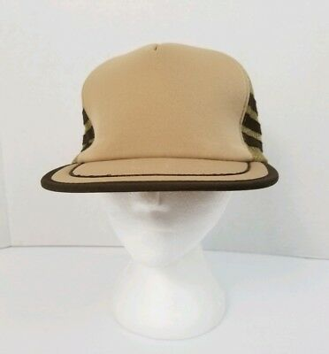 Vintage Canada Cap Brown & Beige Snapback Mesh Trucker Hat Adjustable New Cond.