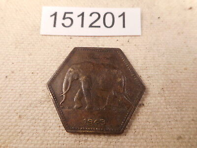 1943 Belgian Congo 2 Francs Very Nice Elephant Obverse Collector Coin - # 151201