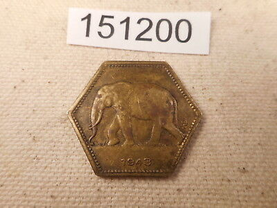 1943 Belgian Congo 2 Francs Very Nice Elephant Obverse Collector Coin - # 151200