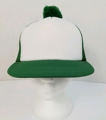 Vintage Canada Cap Green & White Snapback Mesh Trucker Hat Pompom Adjustable