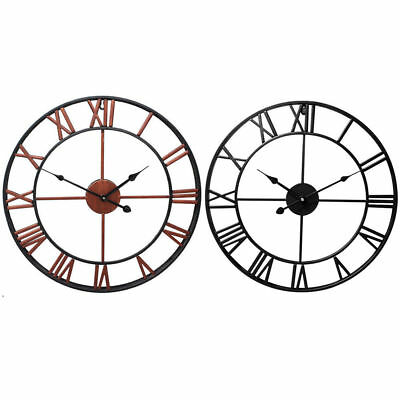 Vintage Large Outdoor Metal Wall Clock Giant Roman Numeral Retro Garden Decor