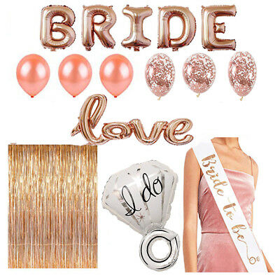 Bride to Be Sash Rose Gold Bachelorette Party Decorations Kit, Shower Wedding