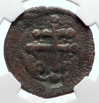 JESUS CHRIST Class H Anonymous Ancient Byzantine Follis Coin CROSS NGC i72080