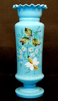 "1800's ANTIQUE Vintage BLUE BRISTOL GLASS Victorian 14"" VASE w/ Enameled FLOWERS"