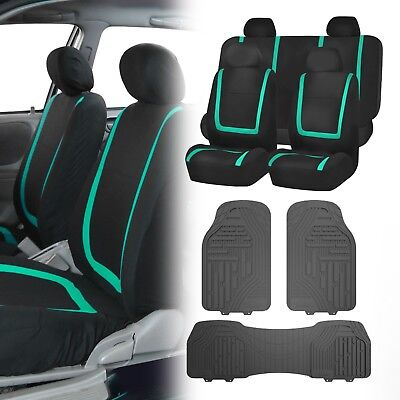 Flat Cloth Seat Covers Mint & Black with Classic Rubber Trimmable Floor Mats