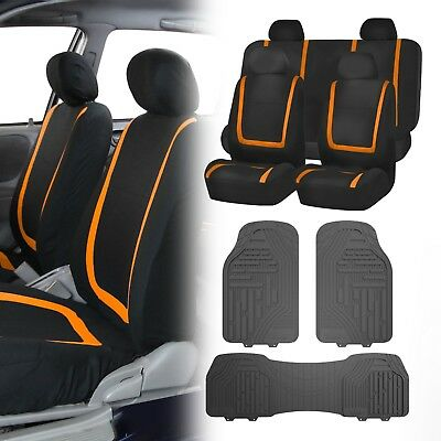 Flat Cloth Seat Covers Orange & Black with Classic Rubber Trimmable Floor Mats